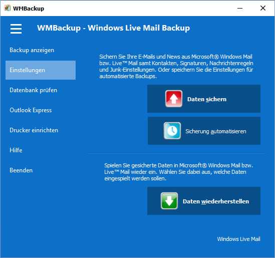 WMBackup - Backup für Windows Live Mail